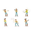 funny cartoon character western cowboy vector image