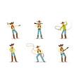 funny cartoon character western cowboy vector image