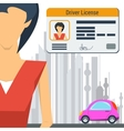 Girl with car and driver license vector image vector image