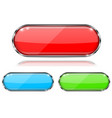 glass buttons red green and blue oval 3d buttons vector image vector image