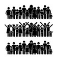 group of people standing community stick figure vector image