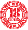 Grunge 18 years happy birthday rubber stamp vector image vector image