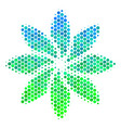 halftone blue-green abstract flower icon vector image vector image