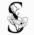 hand drawn floral uppercase s monogram and vector image vector image