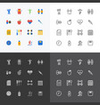 health and fitness silhouette icons flat line vector image