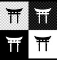 japan gate icon isolated on black white and vector image vector image