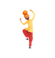 man dancer in traditional indian clothes vector image