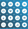 multimedia icons colored set with octave earmuff vector image vector image