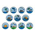 naturevacationcamping set flat icon vector image