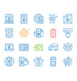online shop simple color line icons set vector image