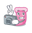 photographer sock mascot cartoon style vector image
