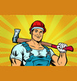 pop art lumberjack woodcutter with axe vector image vector image