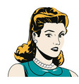 portrait woman pop art angry expression black and vector image