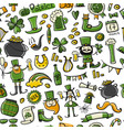 saint patrick day set icons seamless pattern for vector image