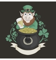 Saint Patrick with a pot of gold and beer vector image vector image