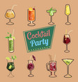 set of cocktails isolated icons packaging web vector image vector image