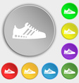 Sneakers icon sign Symbol on eight flat buttons vector image vector image