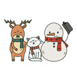 snowman cat and reindeer celebration merry vector image vector image