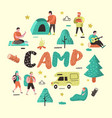 summer camping cartoon characters people in camp vector image vector image