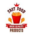 Takeaway bucket of fast food fried chicken icon vector image