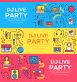 thin lines icons of nightclub dj staff and any vector image vector image