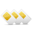 three gray white sim cards vector image vector image
