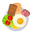 traditional breakfast on plate isolated vector image vector image