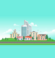 urban landscape with a road - modern vector image