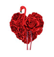 valentines day red roses heart filled and flamingo vector image vector image