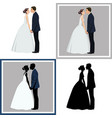 wedding coupleset of four vector image vector image
