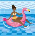 woman taking sun in pool vector image
