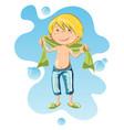 happy boy wrapped in bath towel vector image