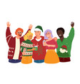 a team friends celebrate a holiday christmas vector image