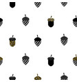 acorn black and white seamless pattern vector image vector image