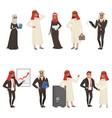 arabian businessmen and bisinesswomen characters vector image vector image