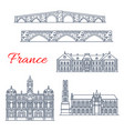 architecture icons of france lyon limoges vector image vector image