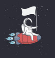 astronaut holds a flag on rocket vector image vector image