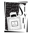 Card about cosmetics with the image parfume vector image vector image