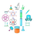 chemical lab icons set cartoon style vector image