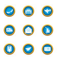 coat of mail icons set flat style vector image vector image