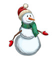 colorful sketch of christmas snowman vector image