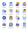 e-commerce icons set in flat style vector image