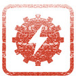 electric energy gear framed textured icon vector image