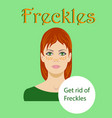 freckled redhaired young woman isolated on a green vector image