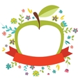 fresh spring flowers around an green apple vector image vector image