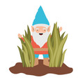 gnome coming out of the bushes on white background vector image vector image