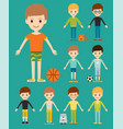 group of young kid portrait friendship man vector image