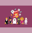 halloween party children in scary different vector image