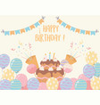 happy birthday cake with candles balloons candies vector image vector image