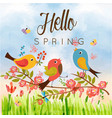hello spring birds butterfly blue sky background v vector image